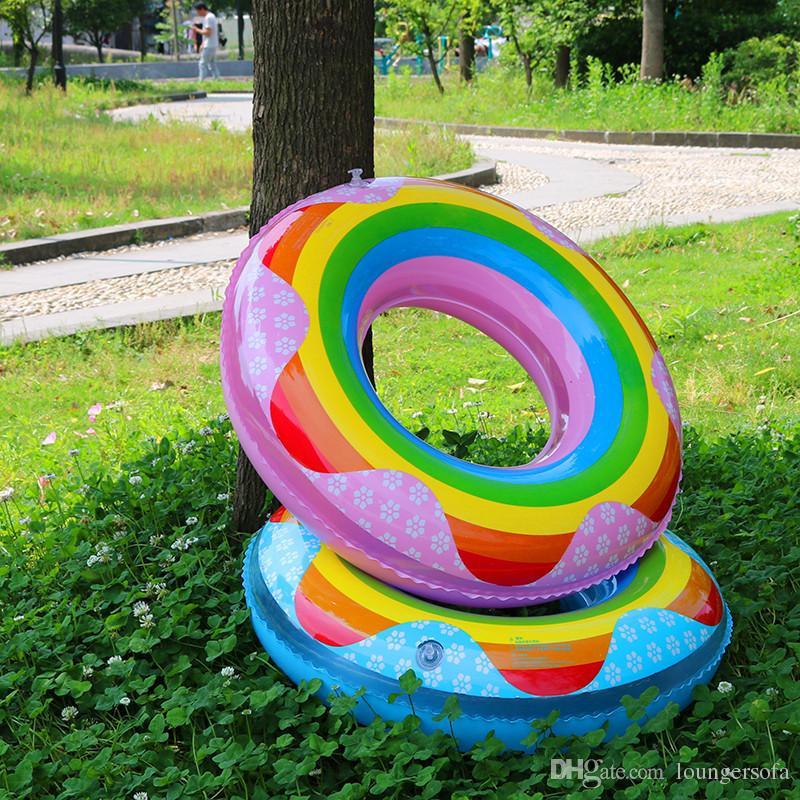 Ispessimento Arcobaleno Nuoto Anello Bambini Adulti Carino Tubi Gonfiabili Piscina creativa Stuoia galleggiante Multi Taglia Scegli alta qualità 7 5xr Z.