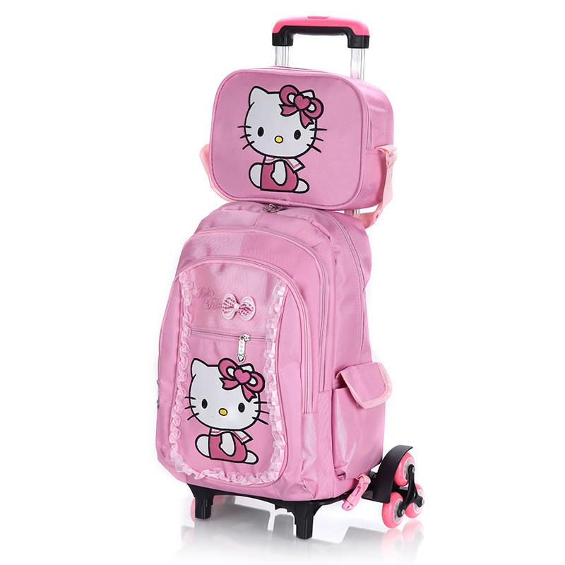 bfee63a88d5 Hello Kitty Children School Bags Set Mochilas Kids Backpacks With Six Wheels  Trolley Luggage For Girls Backpack Wholesale Drawstring Bags College Bags  From ...