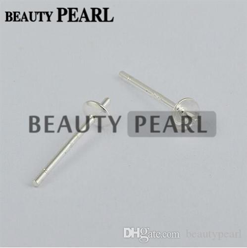 1 Pair  STERLING SILVER EARRING EAR STUDS 5mm CUP PEG /& POST FOR PEARL OR BEAD