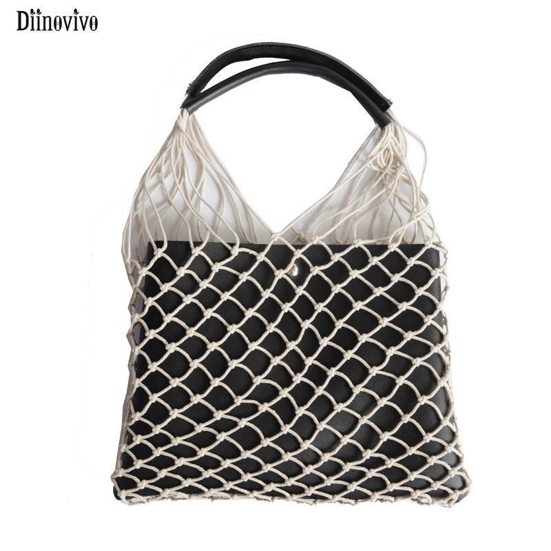 Diinovivo Knitting String Women S Bag Casual Handmade Bag Female Hollow Net  Woven Shoulder Bags High Quality Travel Bags DNV0804 Handbags Purses From  ... e330e56fdeb32