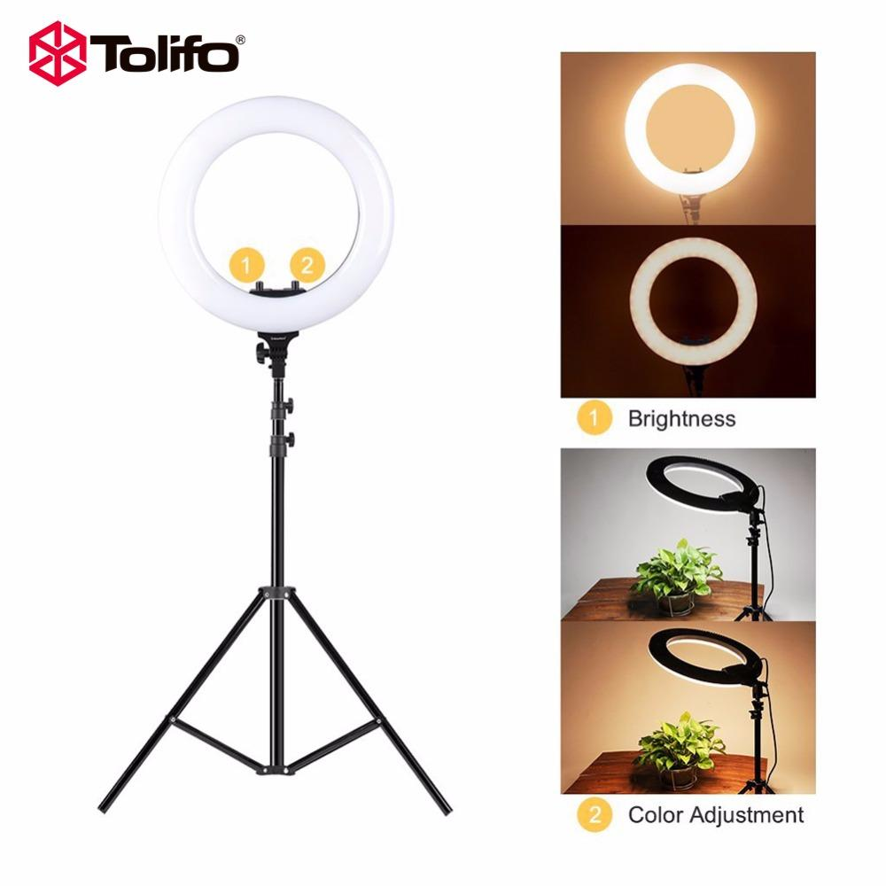 2019 Tolifo 14 R40b Ac Led Ring Light With Stand Kit 40w Bi Color