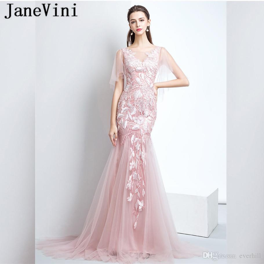 Cocktailjurk Lang.Janevini Pink Mermaid Women Prom Dresses 2018 Jurk Lang Tulle Lace