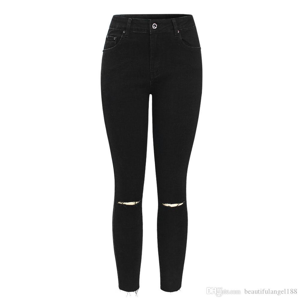 266d42db6d Compre Preto Rasgado Joelhos Cropped Jeans Mulheres Cintura Meados Stretchy Denim  Calças Calças Para A Mulher Lápis Jeans Rasgado Skinny De ...