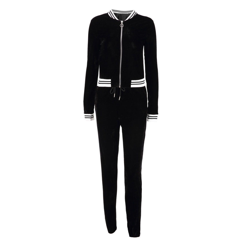 Büyük Boy Kadın Spor Giyim Standı Yaka Eşofman Seksi Kadınlar Casual Suit Pantolon Fermuar Kazak Pantolon Koşu Ile 2 adet Set