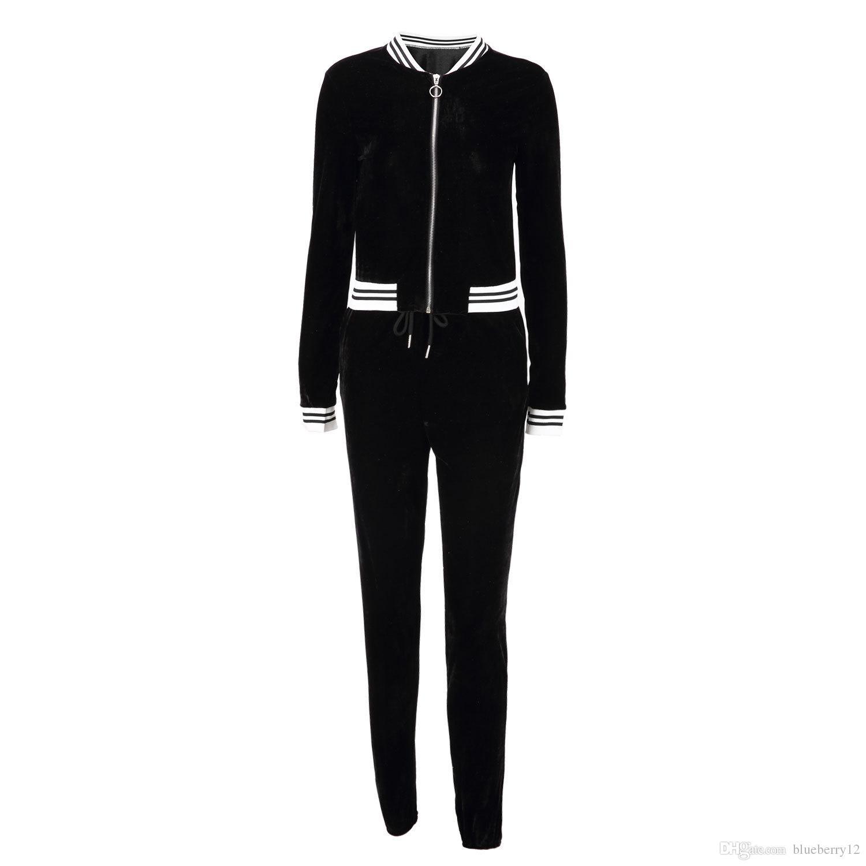Большой размер женщин Спортивная одежда Stand Collar костюмы сексуальных женщин вскользь костюм Zipper пуловер с Pant Беговая 2рс Set