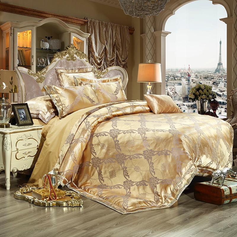 2017 Luxury Jacquard Bedding Set King Queen Size Bed Linen Gold Duvet Cover Embroidery Satin Bed Set Cotton Bed Sheet Discount forter Sets White Bedding Top Design - Fresh luxury king bedding Elegant