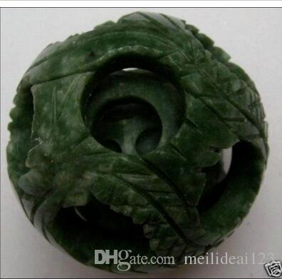 50mm chinesische Jade Blume magische Puzzle Ball + stehen
