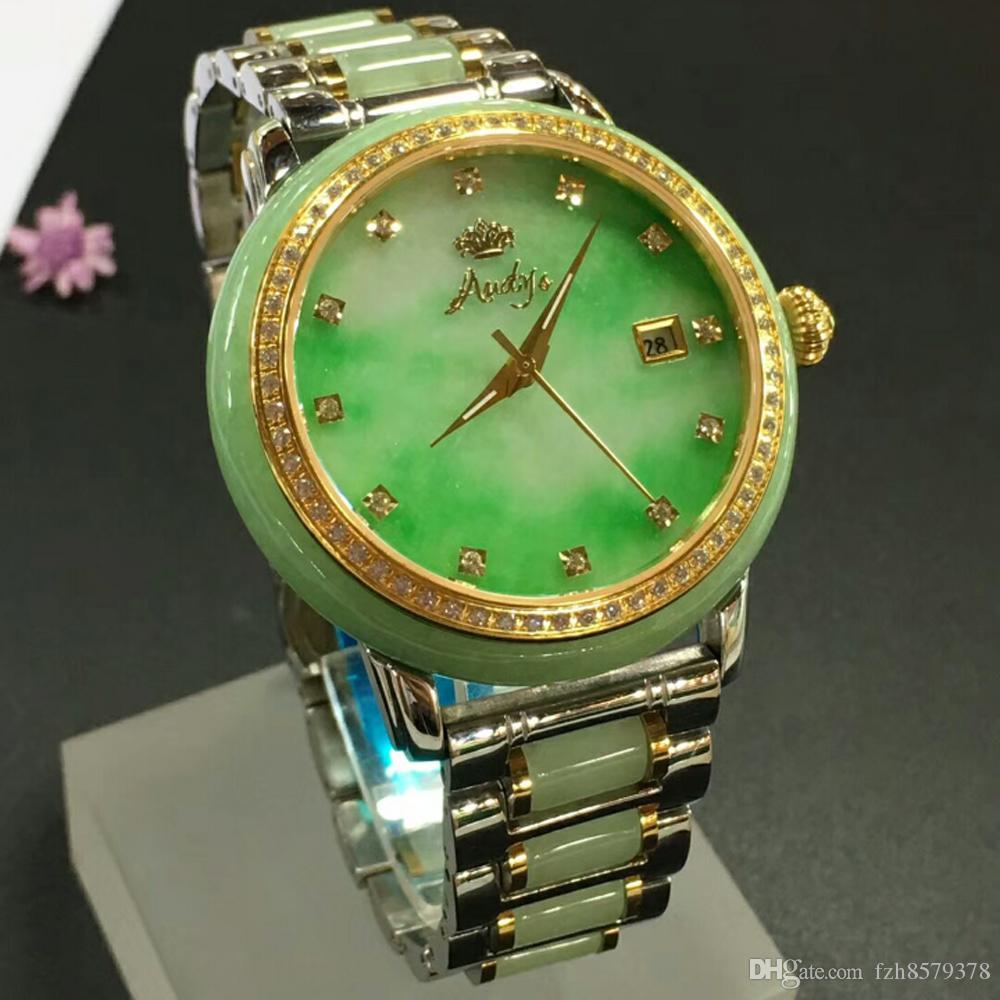 de6b21b33ebf Compre 2018 Precio Barato Moda Verde Esmeralda Reloj De Jade Burma Feicui  Jadeíta Reloj De Pulsera Para Nanyang China W001 A  2467.01 Del Fzh8579378  ...