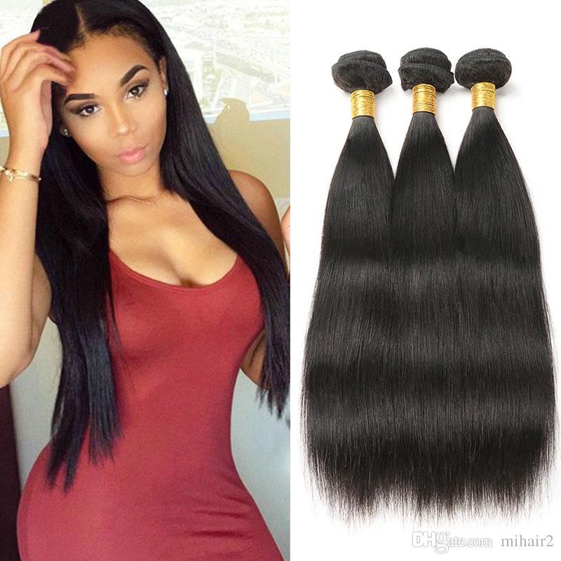 Raw Indian Hair Straight Hair Bundles Human Hair Extension Weave