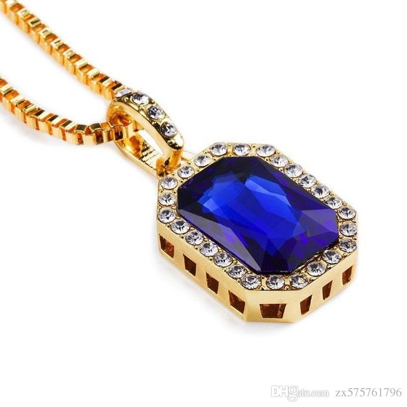 Men Hip Hop Gem Pendant Necklace Charm for Fashion Green Red Blue Black White Crystal Design 18k Gold Plated 75cm Long Chain Jewelry