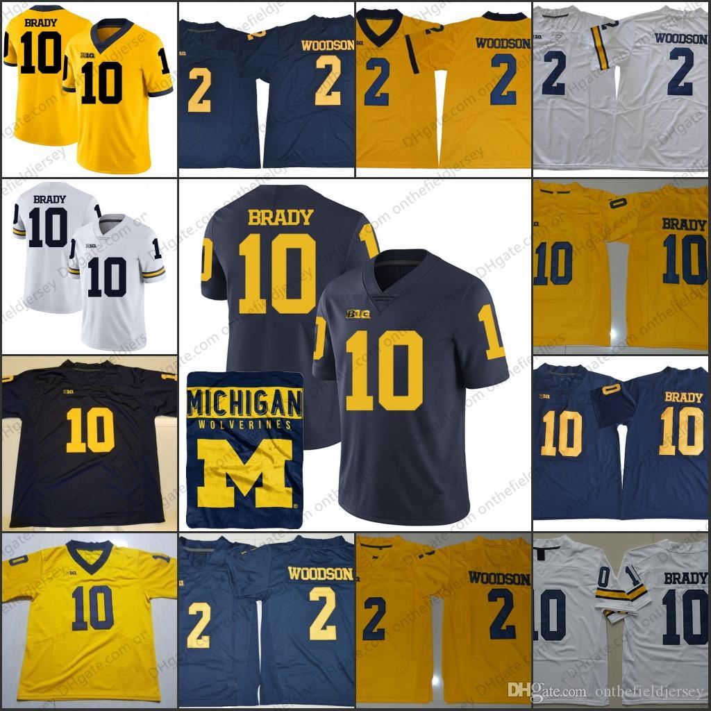meet 3e3f6 5386e Michigan Wolverines Hot Sale #10 Tom Brady Jersey #2 Charles Woodson Navy  Blue White Yellow Stitched NCAA College Football Jerseys S-3XL