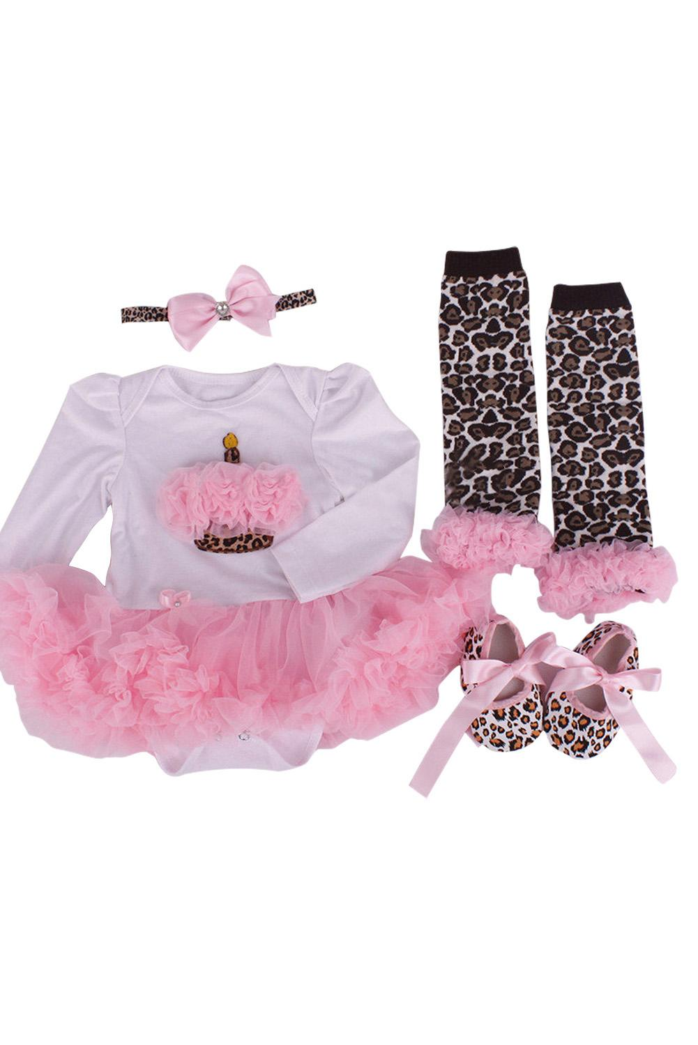 c8c2d89abbb3 2019 HOT SALE Newborn Pink Leopard Baby Romper With Tutu Dress +Head  Band+Shoes+Leggings Baby Clothing Set M From Jasmineer