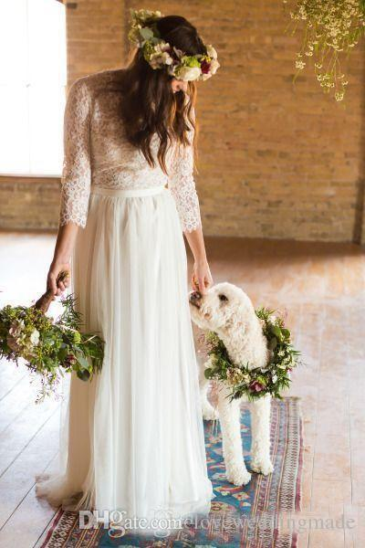 2018 BOHO Romantic Lace Chiffon Vestidos de novia mangas largas longitud completa Garden Beach vestidos de novia baratos por encargo