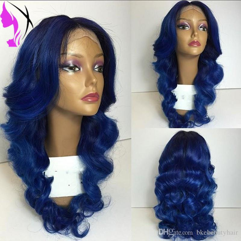 body wave Lace Front synthetic Wig ombre dark blue color Synthetic Hair High Temperature Heat Resistant Fiber Wigs For Women