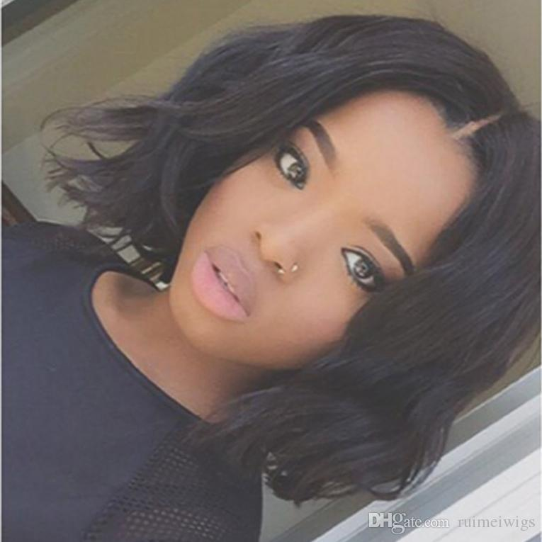 Middle Part Short Curly Full Lace Human Hair Wigs For Black Women Brazilian Virgin Hair Glueless Short Bob Wavy Lace Front Wig