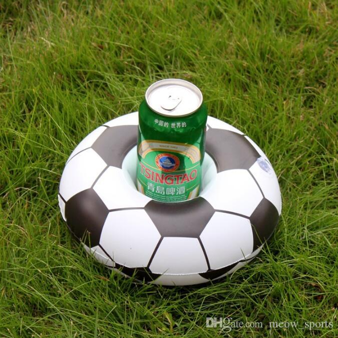 Inflatable Football Drink Glass Holder Pool Floats Cup Holders Soccer Floating Toy Kids Birthday Party Pool Beach Toys