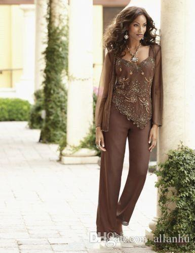 2018 Brown New Arrival Sequined Beaded Mother Of The Bride Pant Suits With Jackets Wedding Guest Dress Plus Size Mothers Groom Dress