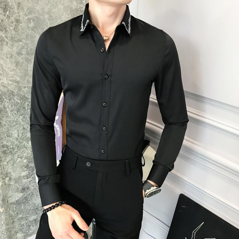 a2b34cbcf6 Compre 2018 Nueva Camisa De Hombre Marca Slim Fit Simple Vestido Camisas  Para Hombre De Manga Larga Casual Bordado Negocios Tuxedo Men s Social  Shirt 3XL A ...