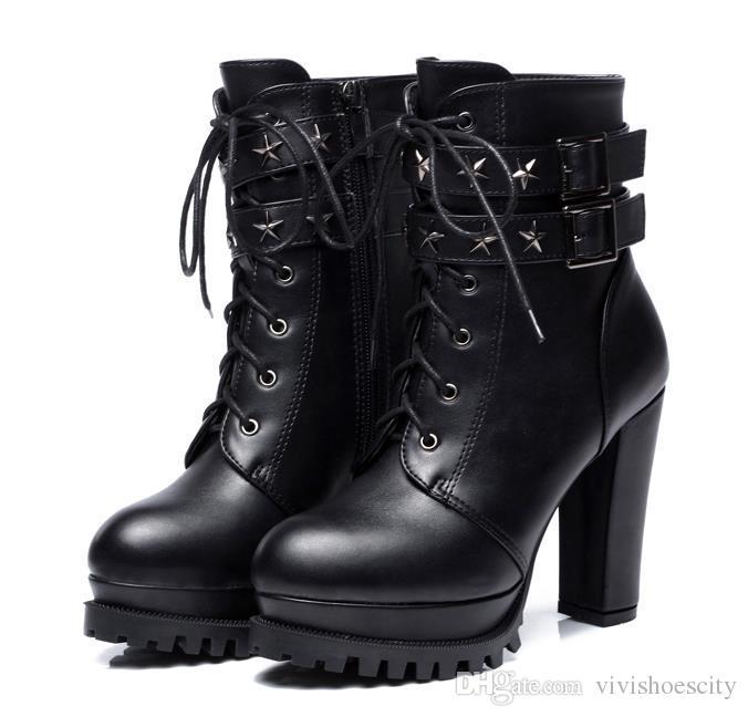 99bd9cd7d7dc Großhandel 9cm Chic Schwarz PU Leder Mit Schnalle Nieten Ankle Boots Frauen  Dicke Ferse Plattform Ritter Stiefel Plattform Schuhe Größe 34 Bis 40 Von  ...