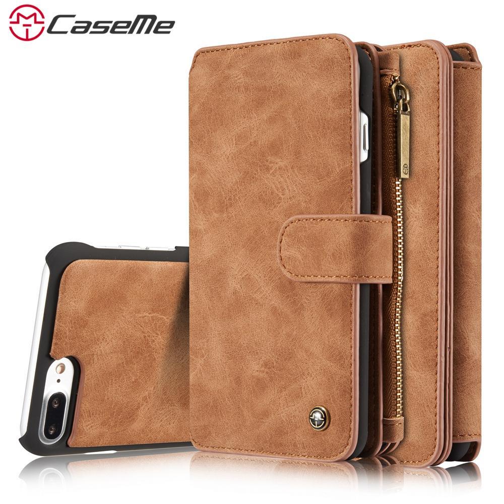7c02c2e79958b Handyhülle S 3 CaseMe Für IPhone X 5 5 S SE 6 6 S 7 8 Plus Luxus Retro  Leder Multifunktions Magnetische Fall Karte Reißverschluss Brieftasche  Zurück ...