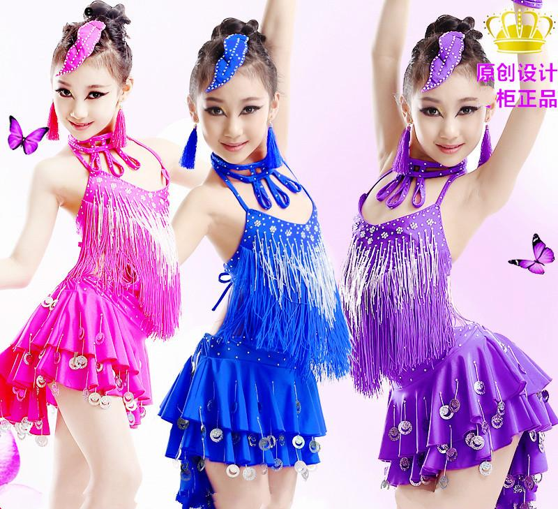 7149270090d9 Children's Latin dance costumes Children's girls Latin dance skirts New  competition performance costumes Drill sequins tassels