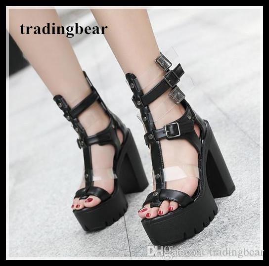 a0d05afc8bc Chic Ladies Black T Strappy Platform Thick High Heel Gladiator Sandals 2018 Size  34 To 39 Fashion Shoes Shoes For Sale From Tradingbear