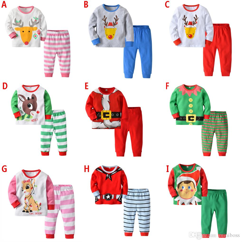 53bbb12d5f23 2019 2018 Boys Girls Christmas Pajamas Kids Long Sleeve Xmas PJS ...