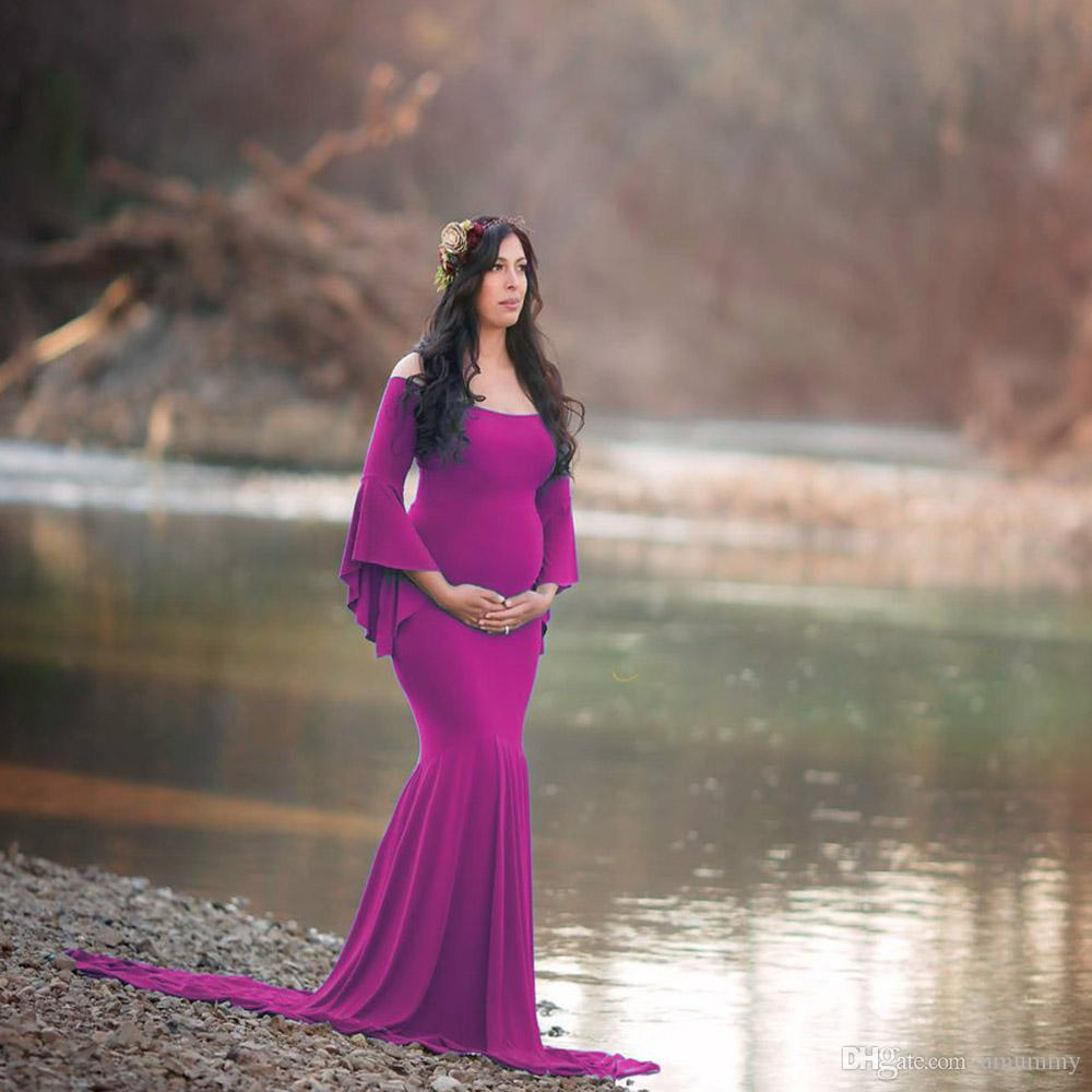 b4cb1407878 2019 Maternity Dress Cold Shoulder Bell Sleeves Photo Prop Mermaid Gown  With Long Train For Pregnant Photography From Umummy