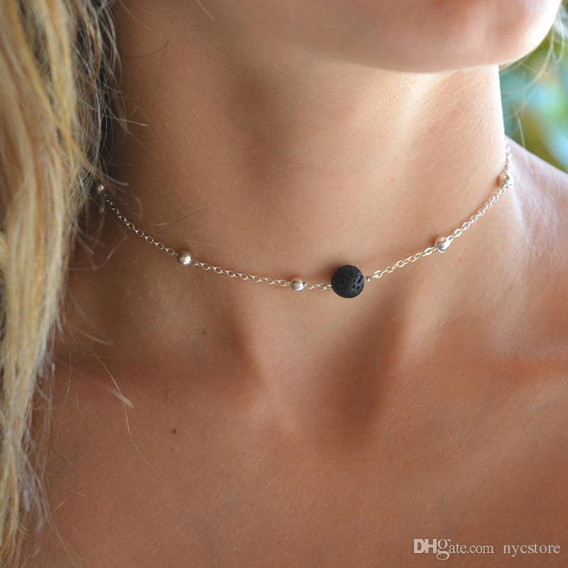 Sexy Naturstein Lava Stein Perle Halsreifen Kette Kragen Halsketten Frauen Yoga Schmuck