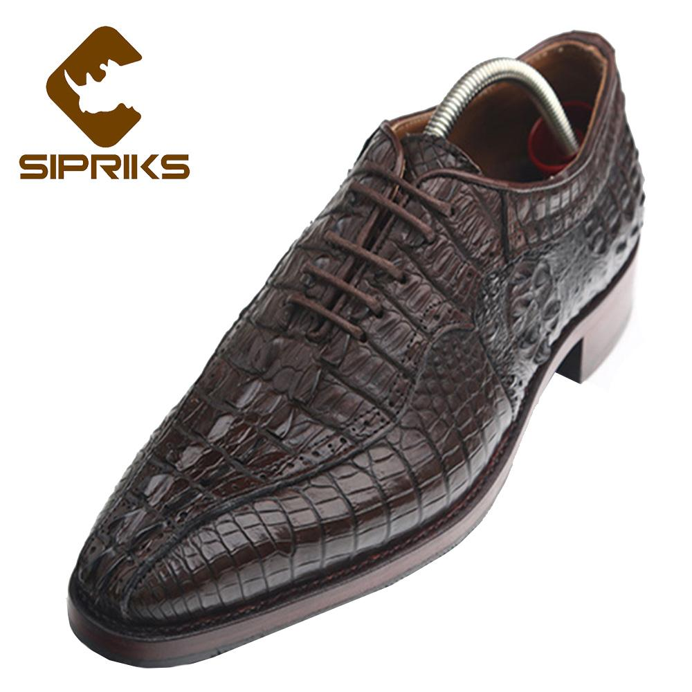 SIPRIKS Handmade Goodyear Welted Oxford Shoes Mens 100% Brown Alligator  Skin Leather Shoes Boss Crocodile Skin Leather New Boat Shoes For Men Navy  Shoes ... bb1426077e0