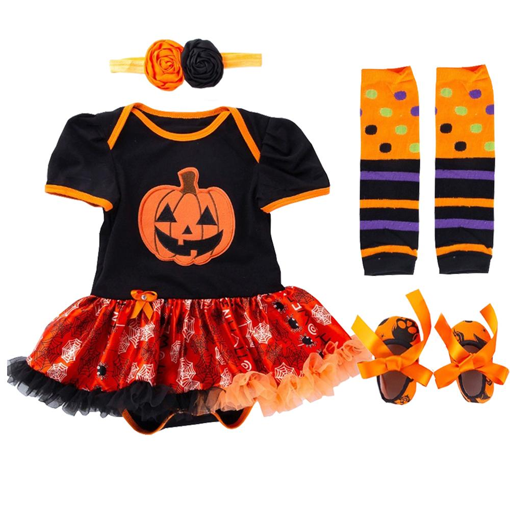 5bd05dd89 2019 Pumpkin Baby Girl Halloween Costumes 1st Birthday Rompers Dress ...