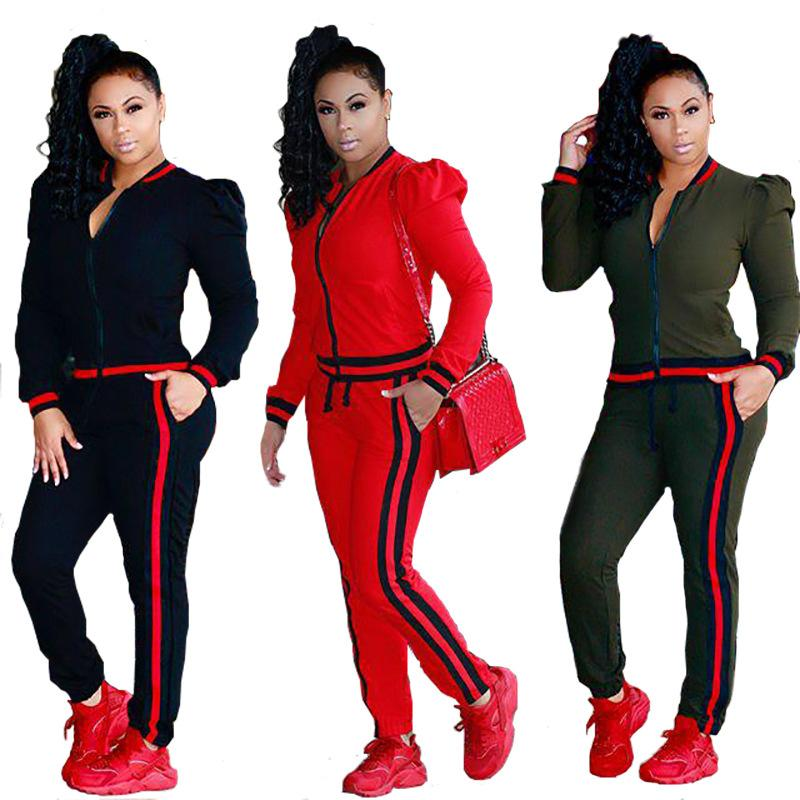 0a8da307e70c Cheap 2018 Fall Women Fashion Side Ribbon Zip Neck Long Sleeve Jacket  Pencil Trousers Two Piece Sport Tracksuits with Pockets Plus Size S-XXXL