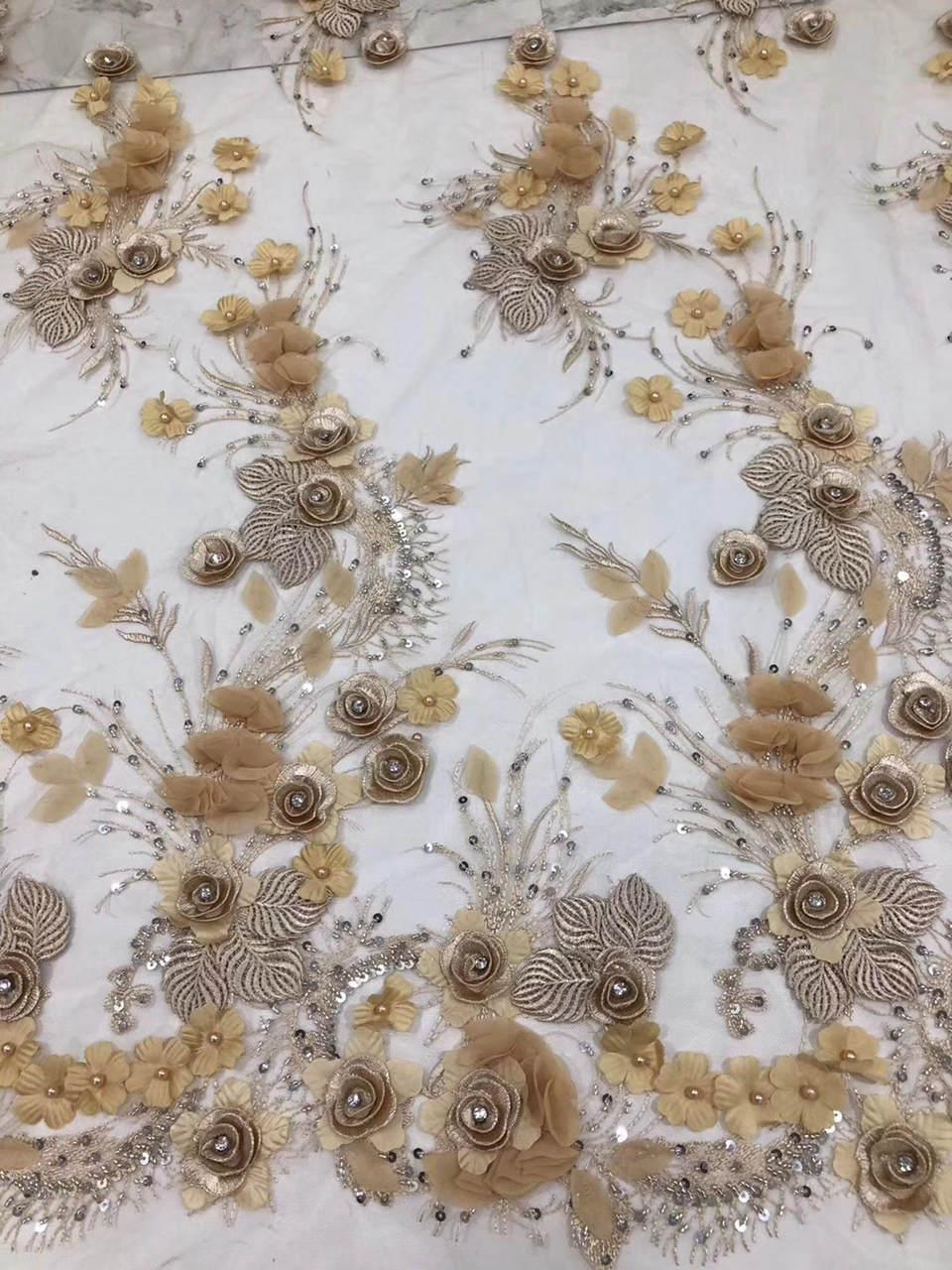 Gran diamante bordado de malla de oro tul tela de encaje patrón de flores  3d con cuentas de encaje africano telas con lentejuelas para boda DS670