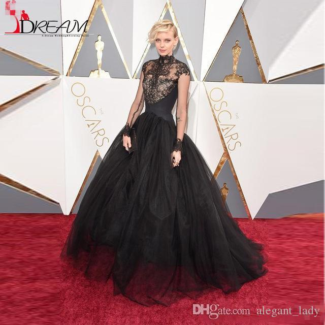 Dorith Mous Red Carpet Dresses 2018 Oscar High Neck Sheer Lace Evening Dresses Long Sleeves Ball Gown Long Celebrity Prom Dresses