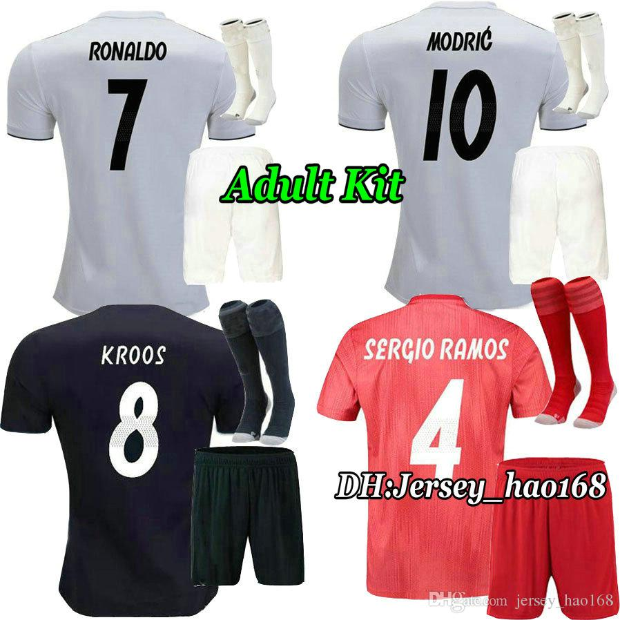 18 19 Real Madrid Adult Kit Home Soccer Jersey ASENSIO MARCELO ... e9a9ccb6d2d12