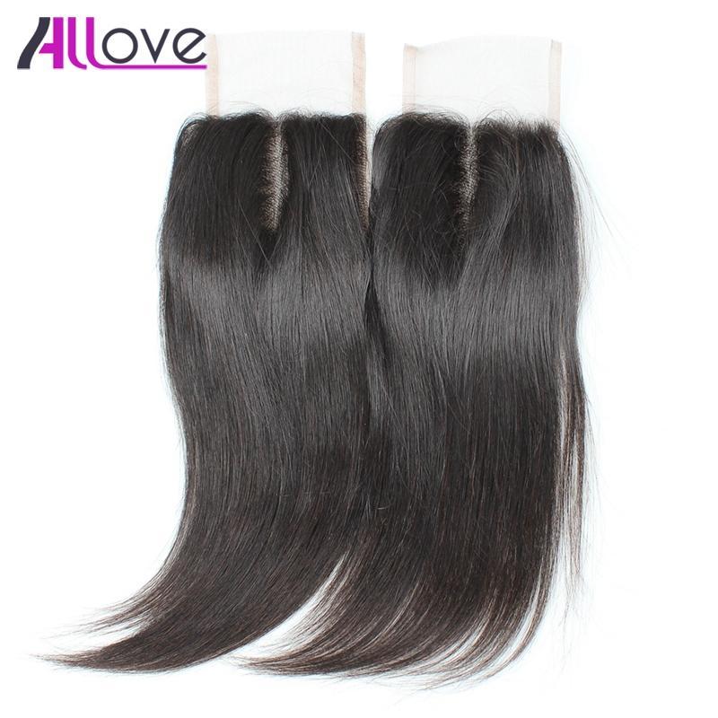 8A capelli vergini brasiliani chiusura laccio in pizzo 1 pz capelli umani peruviani chiusura superiore visone malese dritto lisci capelli vergini indiani