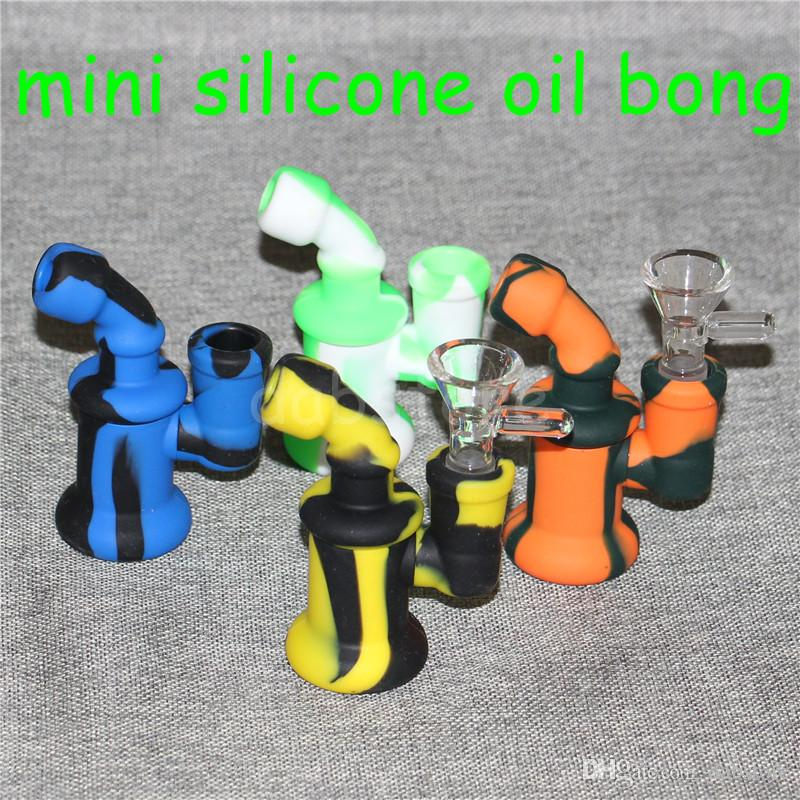 Mini Silicone Bubbler Rig silicone smoking pipe Hand Spoon Pipe Hookah Bongs silicon oil dab rigs with glass bowl silicone hand pipes