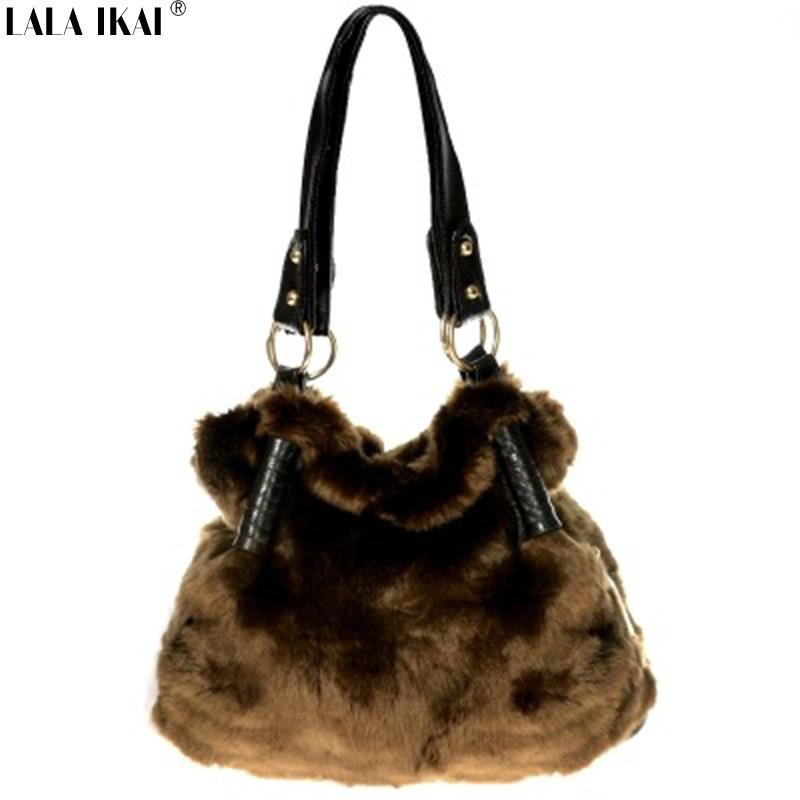 d1653e994e4 Wholesale Brand Winter Warm Ladies Shoulder Bag Rabbit Fur Handbag Vintage Tote  Bags For Women Designer Faux Fur Bag BWA0338 Designer Handbags On Sale  Black ...