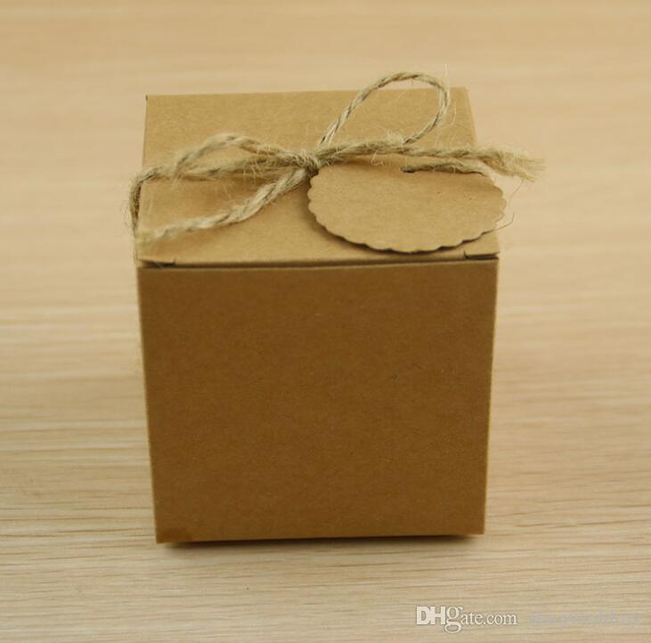 Kraft Paper Wedding Candy Box Brown Square Cardboard Boxes For Packaging Gift Box Party Supplies 100pcs/lot