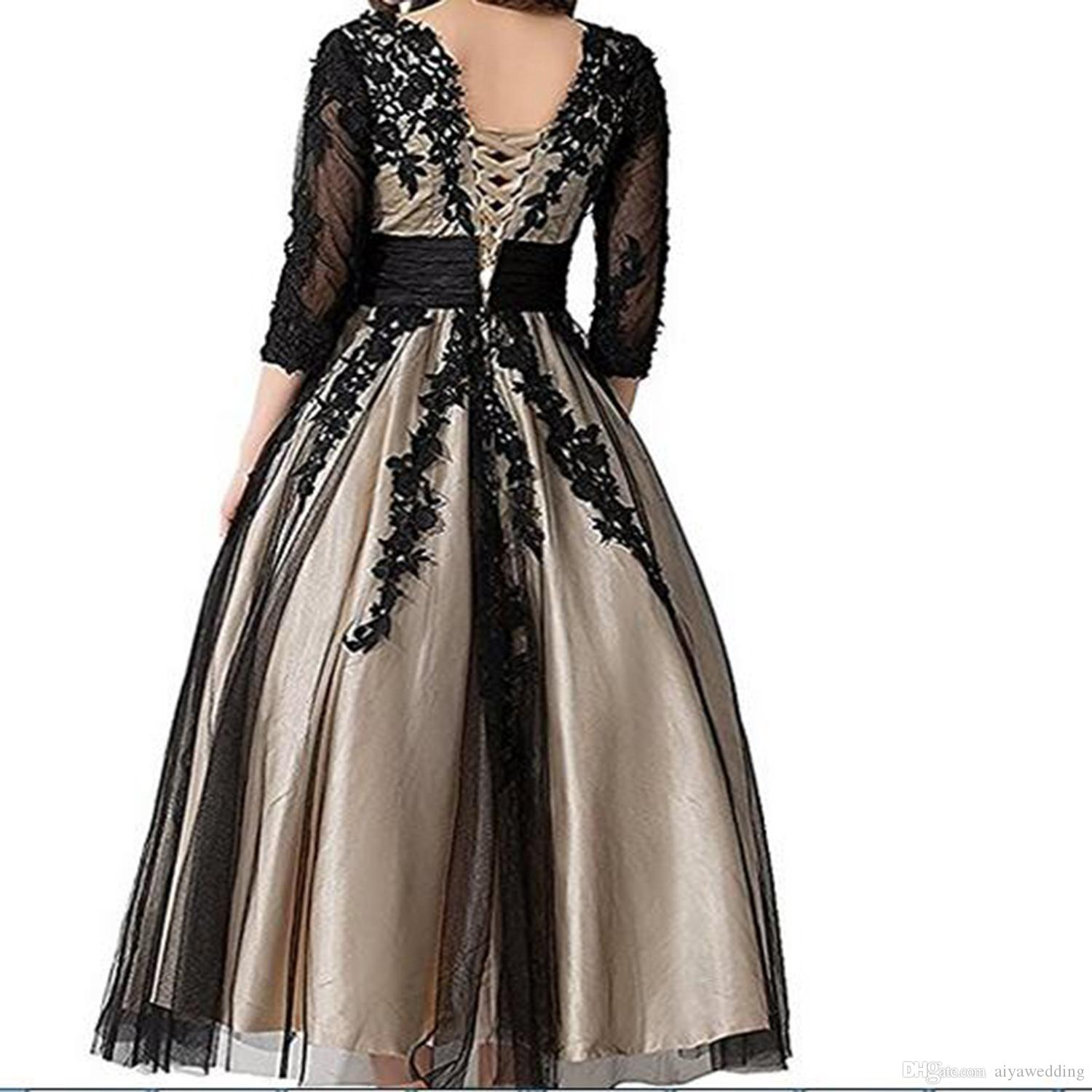 2019 Women's Long Champagne with Black Lace Tulle Plus Size A-line Tea Length Formal Evening Dresses