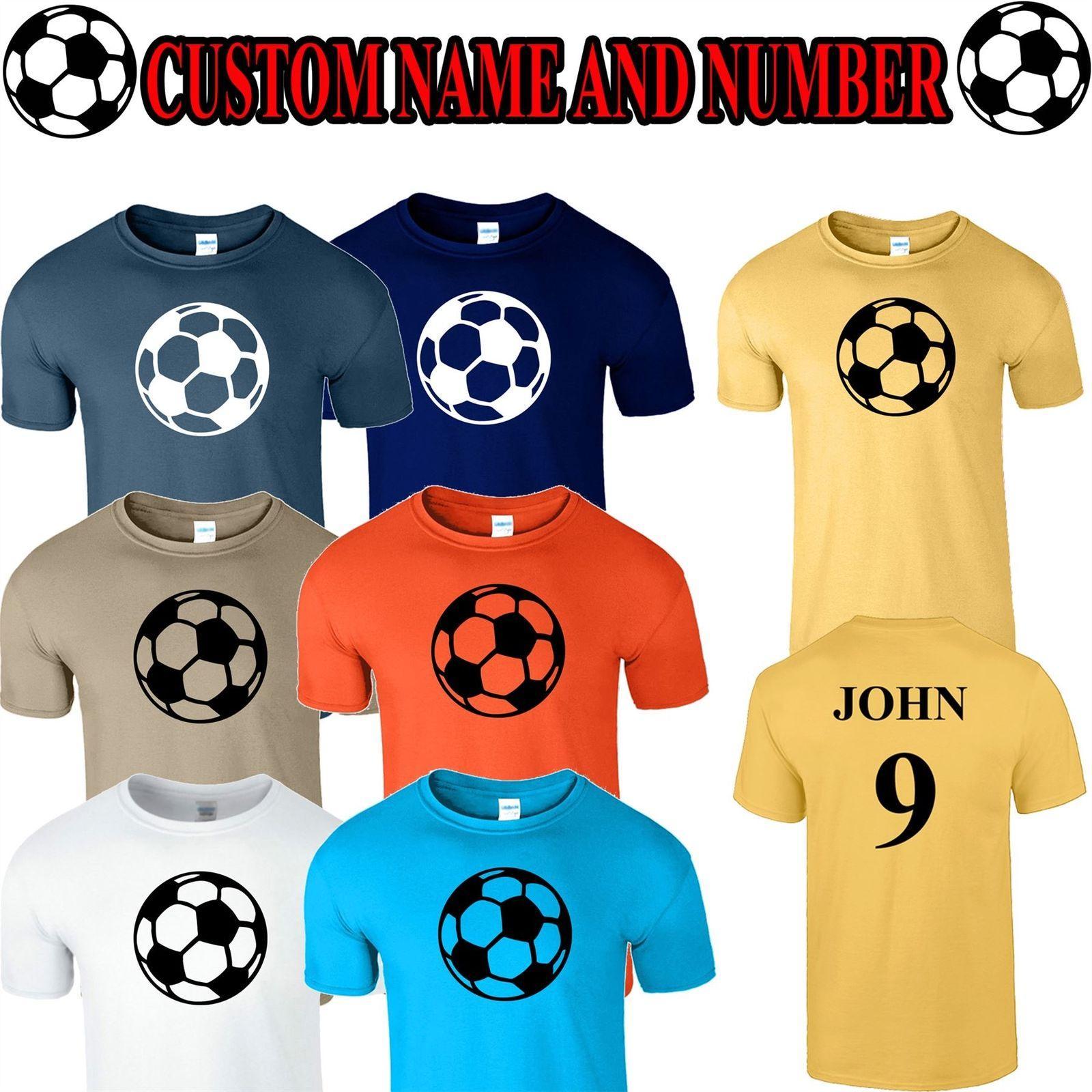 Personalised Mens Football T Shirt Custom Name Number Girls Boys