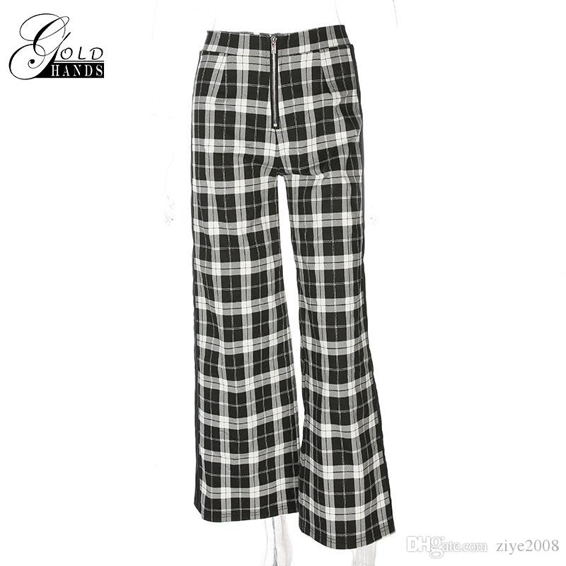 Gold Hands Fashion Women Spring Summer Black White Plaid Wide Leg Trouser High Waist Knitted Flare Pants England Style Loose Patchwork Pant