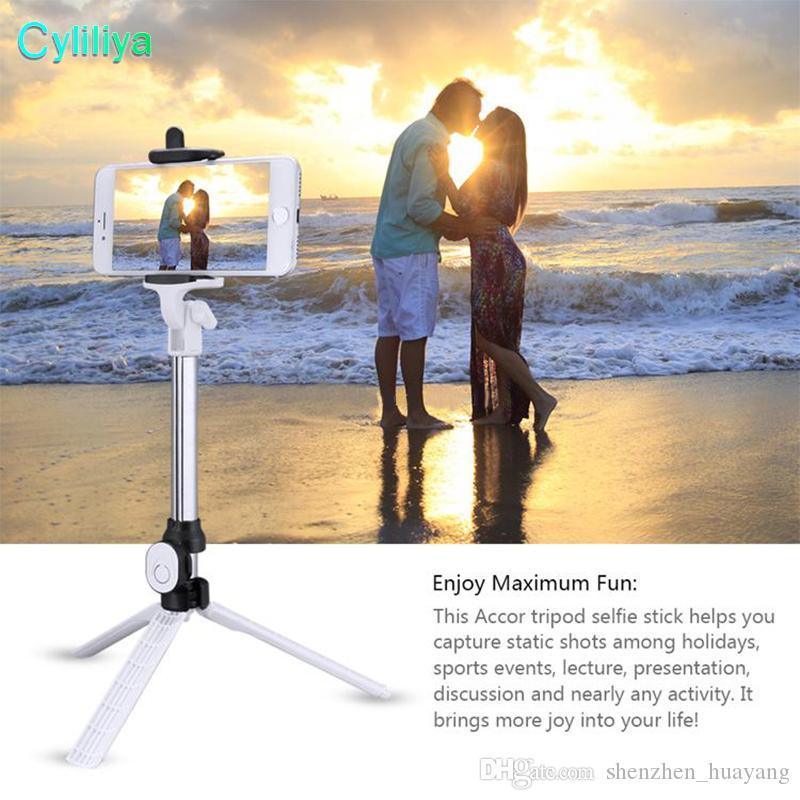 Bluetooth Selfie-Stick Universeller ausziehbarer Mini-Handheld mit Selbstausrichtung und verstellbarem Halter. Kostenfreie Bluetooth-Fernbedienung