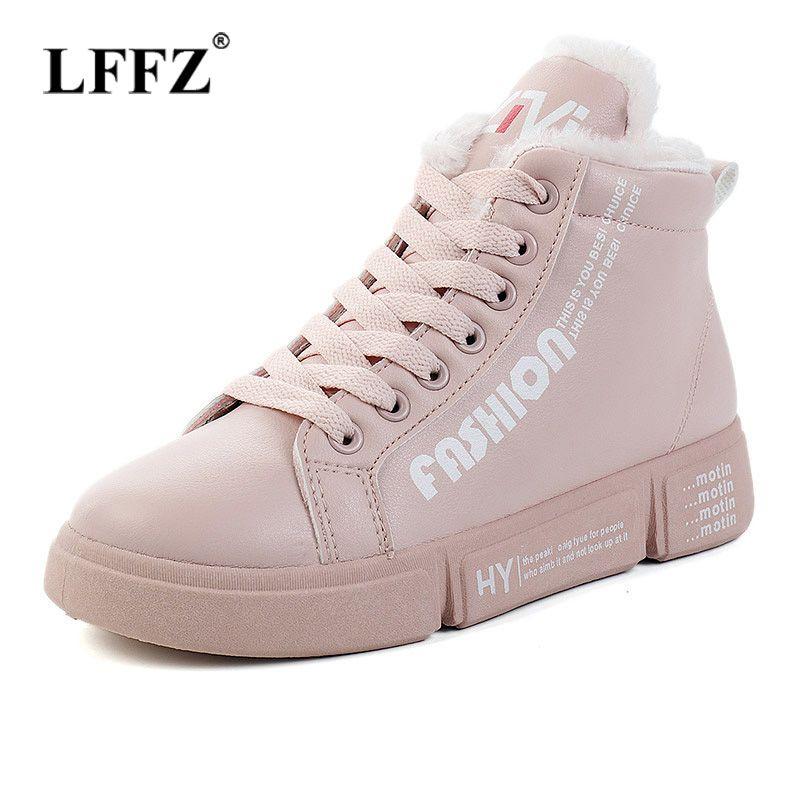 Acheter Lzzf 2018 Mode Hiver Casual Chaussures À Lacets En Cuir Noir Femmes  Plateformes Blanc Chaussures Sneakers Peluche Pour Appartements Dames Femme  De ... 1fbd98704085