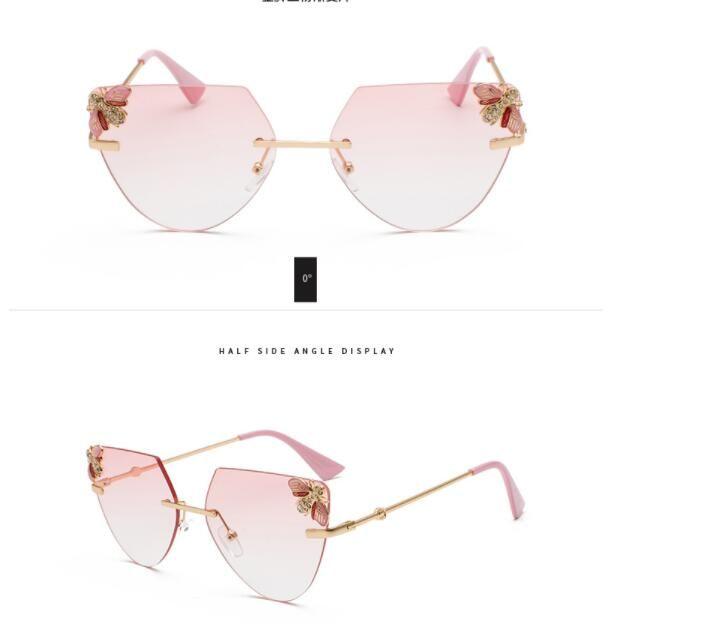 319bfe8e23c 2018 Hot Selling Bezel Less Cut Edge Women Sunglasses New Style Sun Glasses  Small Bee Cat Eye Glasses Sea Slice Sun Glasses Cheap Prescription  Sunglasses ...