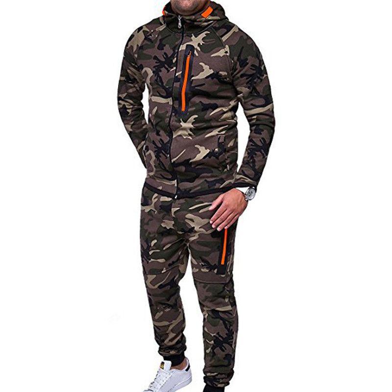 316ab9d61121 2019 Autumn Camouflage Sweatshirt Set Man Clothing Two Piece Sets Men Long  Sleeve Zipper Jacket SweatPants TrackSuit Male Clothing From Enjoyweekend,  ...
