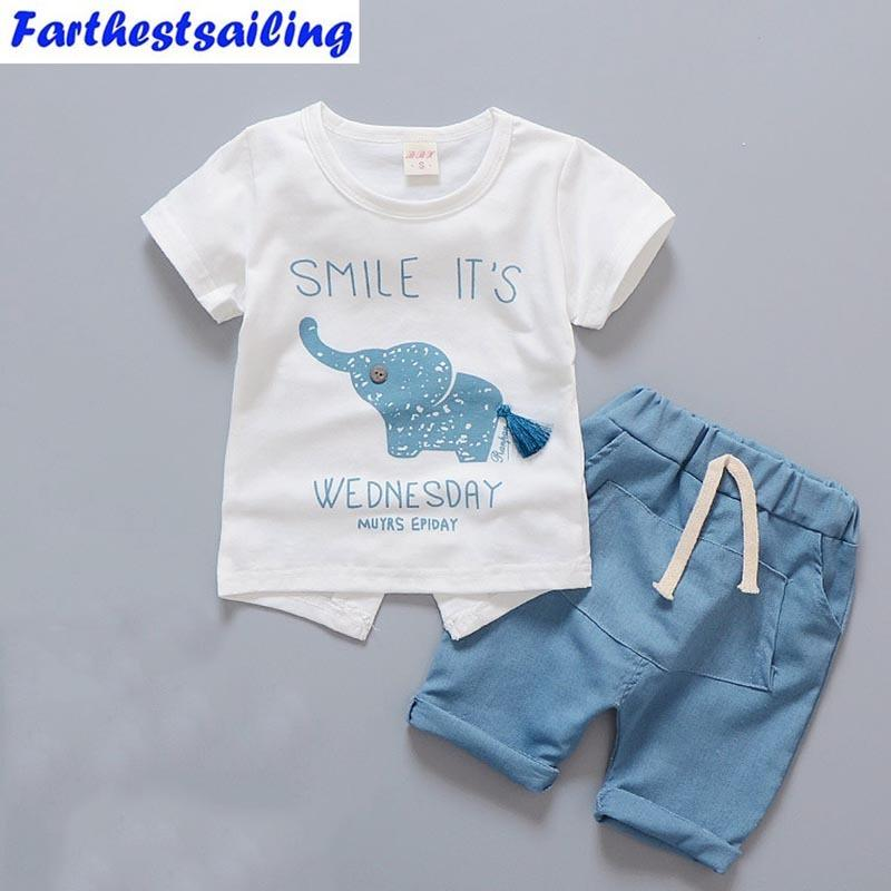 a43ac910f 2019 Newborn Baby Boy Clothes Summer Infant Clothing Short Sleeved T Shirts  Tops Striped Pants Kids Bebes SuitsToddler Outfits Set Y18100904 From  Shenping01 ...