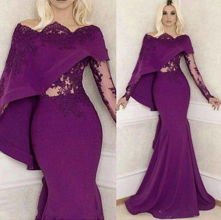 2018 Purple Mermaid Evening Dresses Long Sleeves Bateau Lace ...