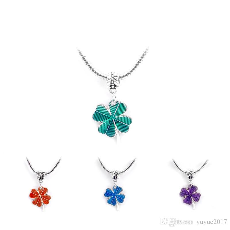 Colliers chanceux femmes et fille trèfle à quatre feuilles pendentif colliers charme bijoux argent Chian cadeau colorul DHL livraison gratuite