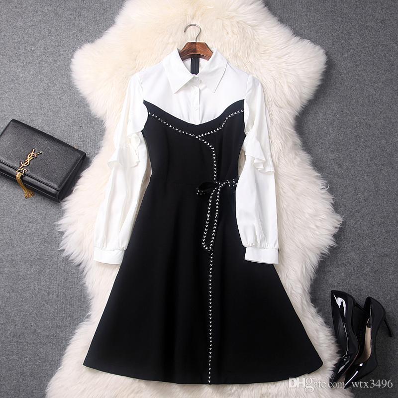 49539291fe4 Women s One-piece Dress Early Spring New Type Turndown Collar ...